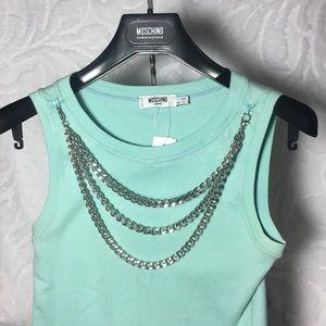 Moschino Aqua baby blue mint silver chain top